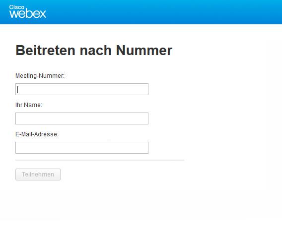 Bitte loggen Sie sich bei webEx ein!